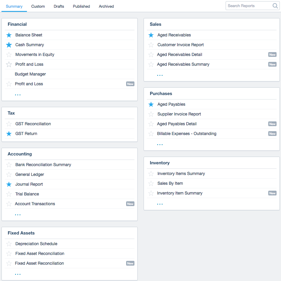 Here's what the new Xero report center looks like.