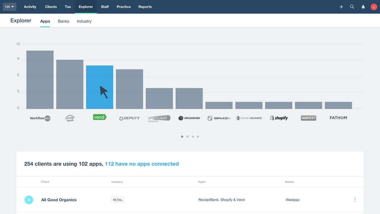 The Explorer tab showing connected apps in Xero HQ