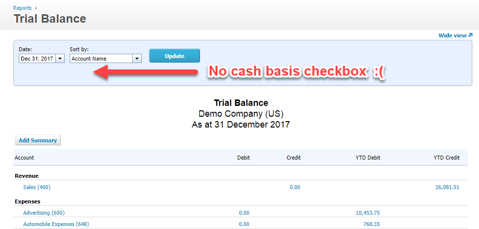 Xero's Trial Balance report doesn't have a cash basis option