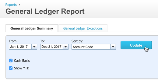 Settings to use on the General Ledger Report
