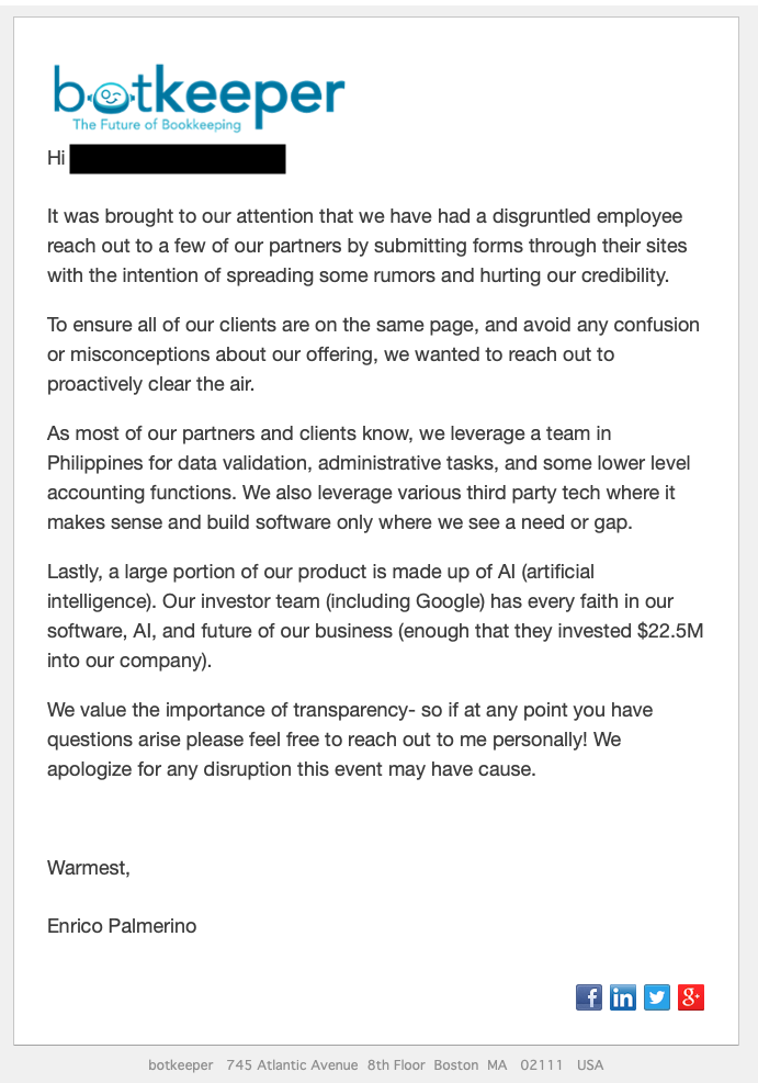 Email from from Enrico Palmerino, CEO, to Botkeeper accounting firm partners sent February 12, 2019