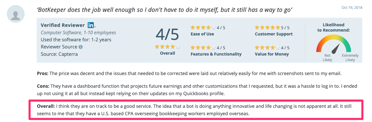 A Botkeeper review on    Capterra