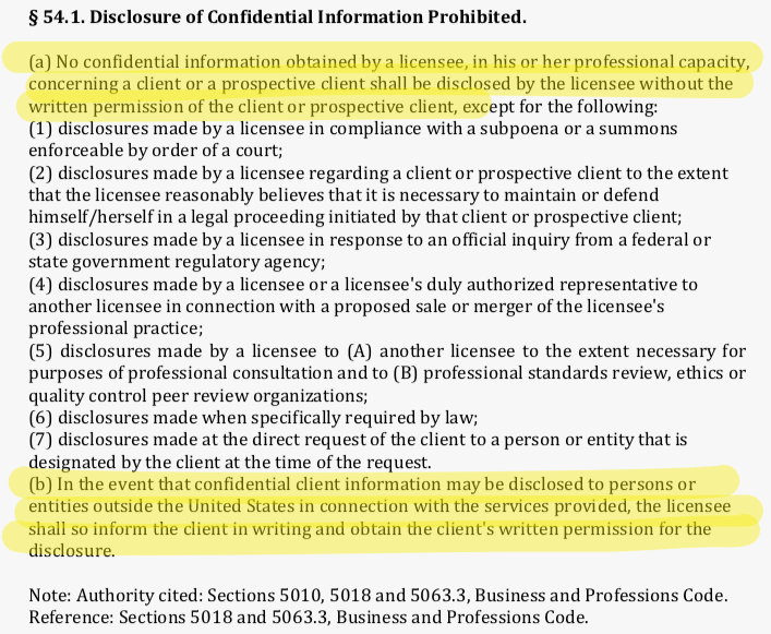 California Board of Accountancy Regulations regarding disclosure of confidential client information