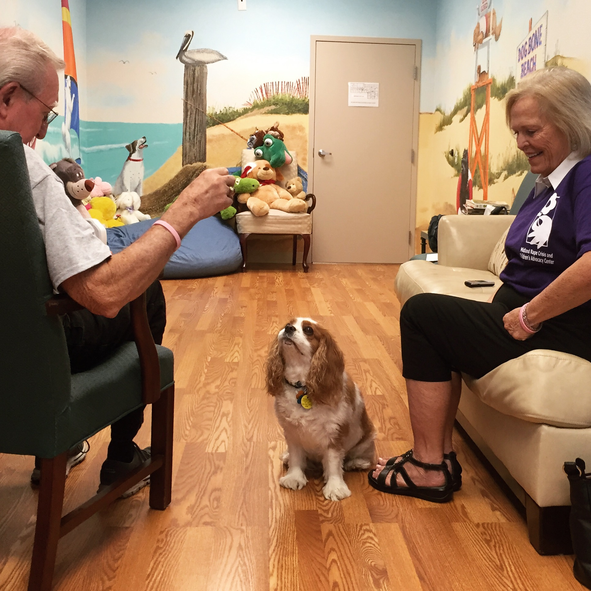 """Midland, TX. October, 2015. This is Gary and Carol and their dog Marley. Marley is a therapy dog at Midland's Rape Crisis and Children's Advocacy Center and at the hospital. """"There was a young girl that came in one time, she was hugging herself, wearing a big sweatshirt with her hood on, just completely still,"""" said Carol. """"Marley came over to her and just sat with her, leaning against her legs. After a little while, she reached out and put her hand on his head, and smiled a little bit. We never know what the kids have been through, we don't ask them. But somehow Marley knows. Dogs can connect when no one else can.""""  #SnapshotLives     Link to article:  http://www.mrt.com/news/top_stories/article_5d222f52-751b-11e5-b384-1ba335d9529a.html"""