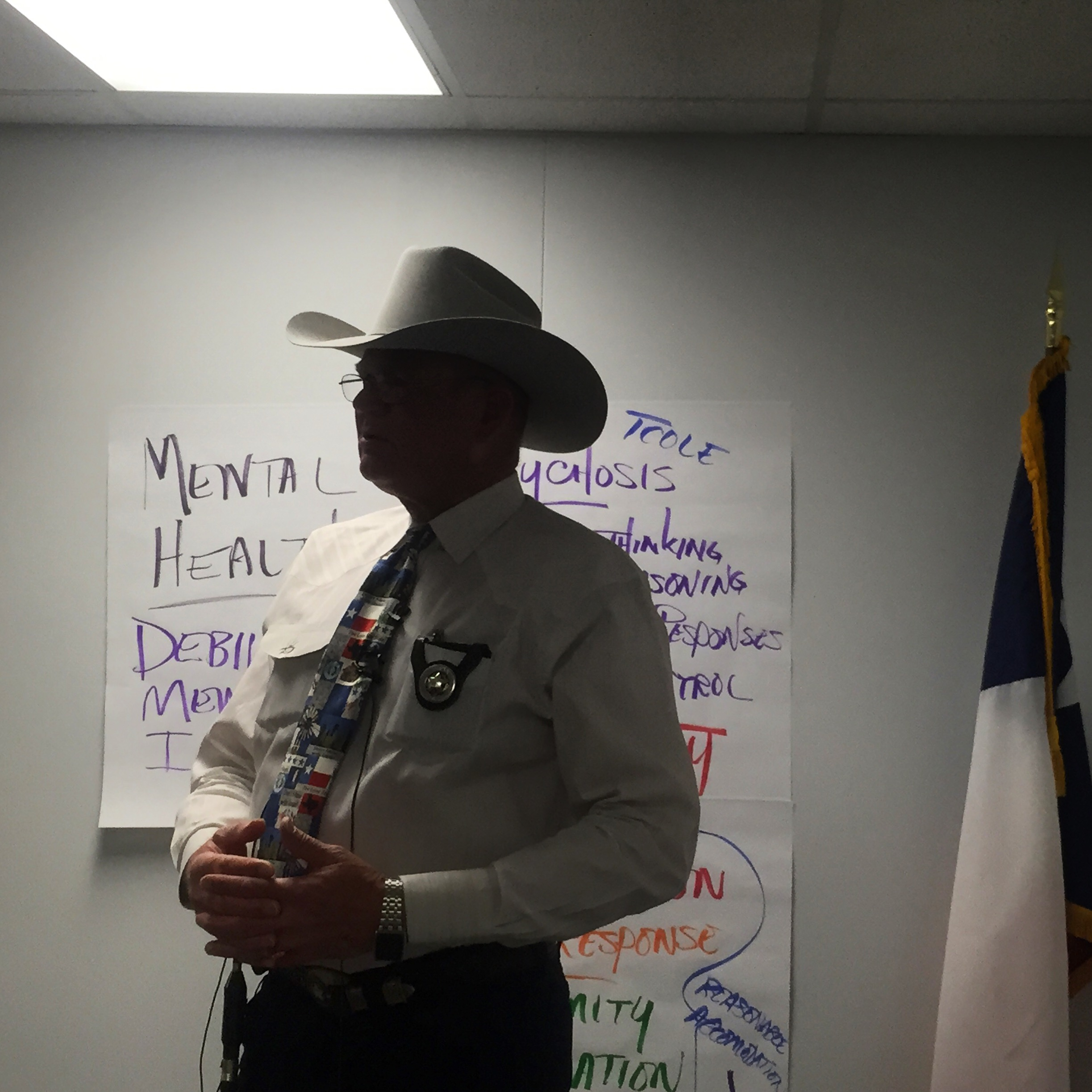 """January, 2016. Midland, TX.  Midland County Sheriff Gary Painter talks to the press about the new mental health task force, in which two police officers will join the 4 specially trained mental health deputies of MCSO's Crisis Response Team. """"My job and my desire is to keep people out of jail,"""" Painter said. """"People that have a mental health crisis do not belong in jail. They require treatment and that's what we're trying to do."""" Calls involving mental health crises have been on the rise every year in Midland. Another trend has been younger and younger children with suicide outcries. Over only the past four months the CRT has responded to 377 calls. Last fiscal year, the CRT responded to a totally of 265 over a period of six months.  #mentalhealth  #decriminalizementalillness    #MidlandTX  #recovery    #SnapshotLives  #suicideprevention   http://m.mrt.com/news/top_stories/article_c05c3b6e-b8da-11e5-bea1-8feb710c0fdb.html?mode=jqm"""