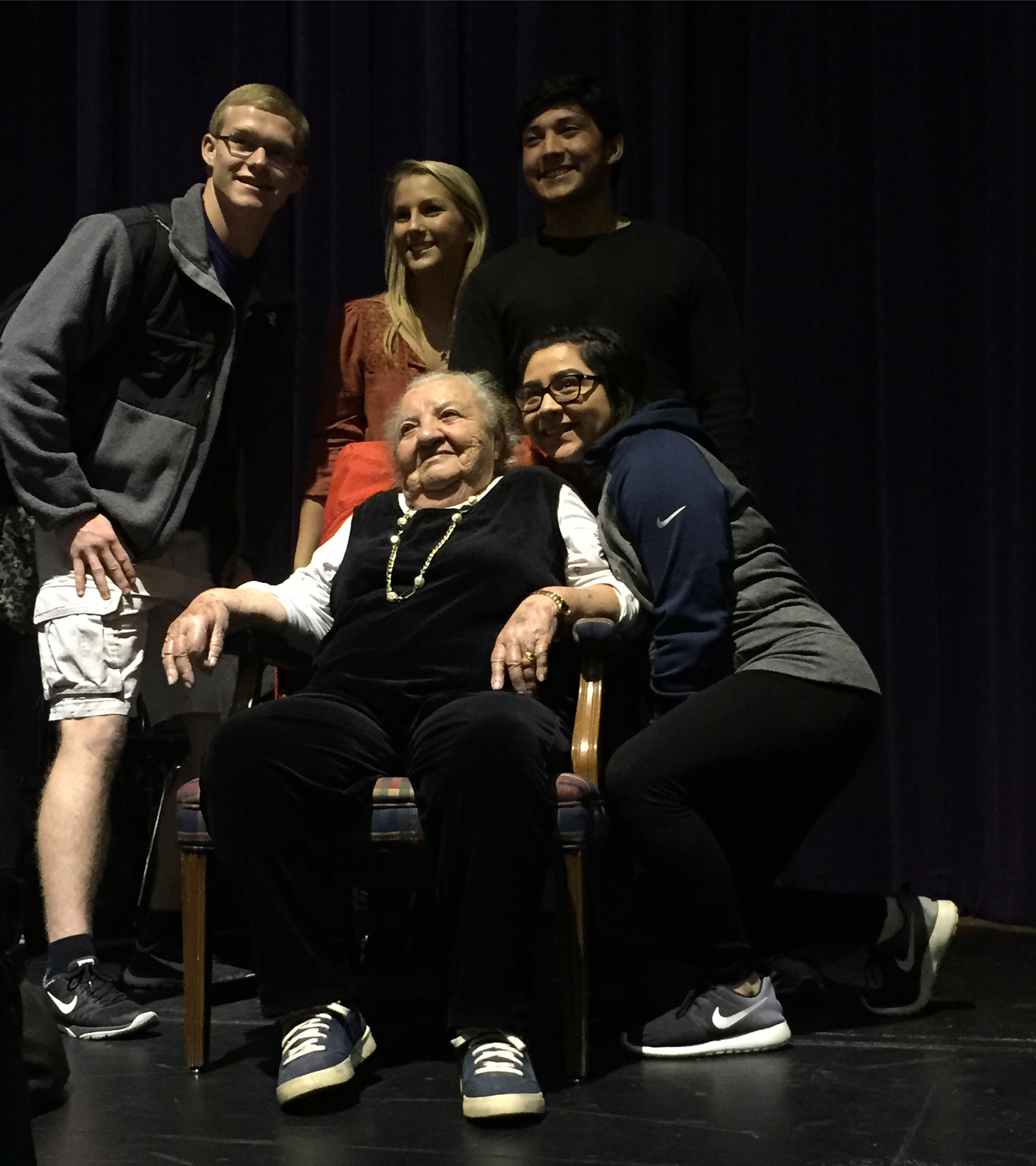 """February 2016. Midland, TX.  Midland High School students pose for a picture with Rosa Blum, 88, a Holocaust survivor who came to speak to the tenth grade English II students. They are reading Elie Wiesel's """"Night"""". Blum lost her entire family in Auschwitz. She was just 15 when her family was deported from Romania to the concentration camp. """"Somehow you get strength even when there is no strength available,"""" Blum said in response to a student's question about how she coped and survived. """"I remember they used to say at home, 'metal breaks, a human holds out.' That's how the strength had to come...it changed me a lot. I look at life different. I value everything. I don't want too much, as long as I can live and go on and do whatever I'm doin'. I'm happy with what I am."""" Students lined up to take photos with Blum after her talk. One student was particularly touched. """"This impacted me a lot,"""" said Melynna Morgan, her eyes wet. """"What happened in the Holocaust back then, it is possible for it to happen again...people, they deserve respect...people are equal, and people shouldn't be separated from their families."""" She was alluding to the current climate she and her peers are growing up in-one full of hatred, xenophobia and anti-immigrant and refugee sentiments--much like the States were in 1938. Full story here:  http://www.mrt.com/news/education/article_811f49c8-db6c-11e5-9c53-93ccdd90c8e1.html? TNNoMobile  #SnapshotLives    #Holocaust    #refugees  #hate    #fear    #fearkills    #silence    #silencekills  #love    #peace    #MidlandTX    #usa    #syria  #immigration    #survivor    #survival"""