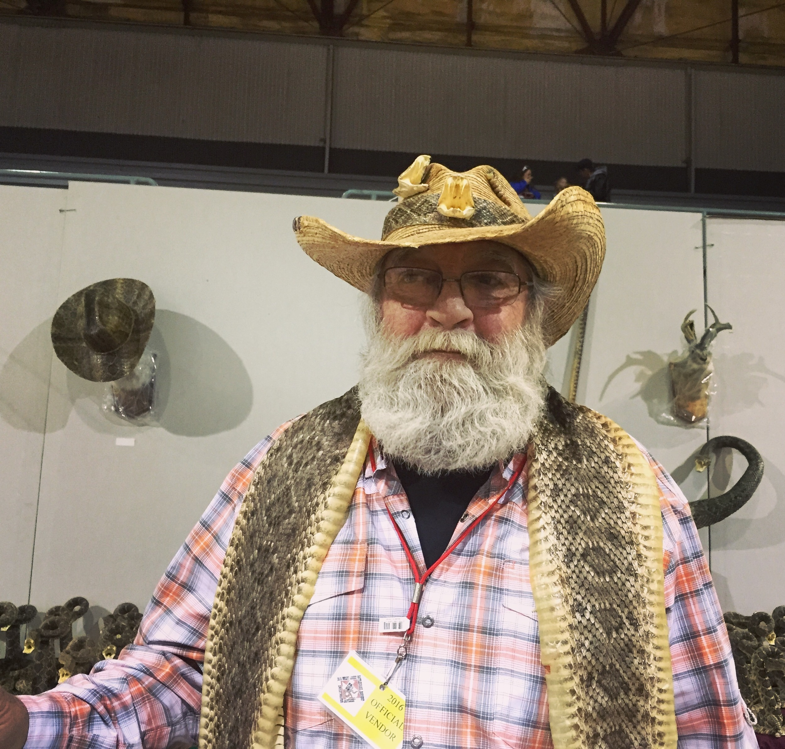 March, 2016. Sweetwater, TX.  James Smith needed a job and five years ago his buddy with Randall's Wildlife Creations said he could work in sales.The   #SweetwaterRattlesnakeRoundup   is their biggest event.  #sweetwater2016    #texas  #sweetwater2016    #rattlesnakeroundup  #SnapshotLives   Full story:  http://www.mrt.com/news/top_stories/article_d529f200-ed57-11e5-b3db-7f3527555ee4.html