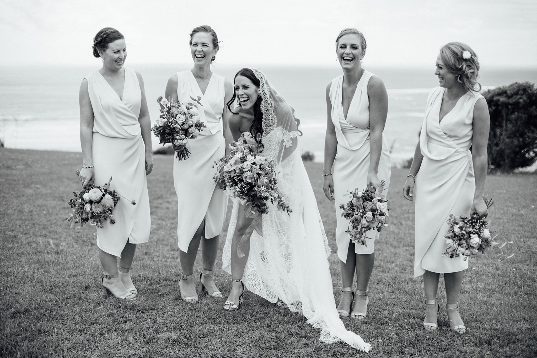 Wedding photography bridesmaids beach