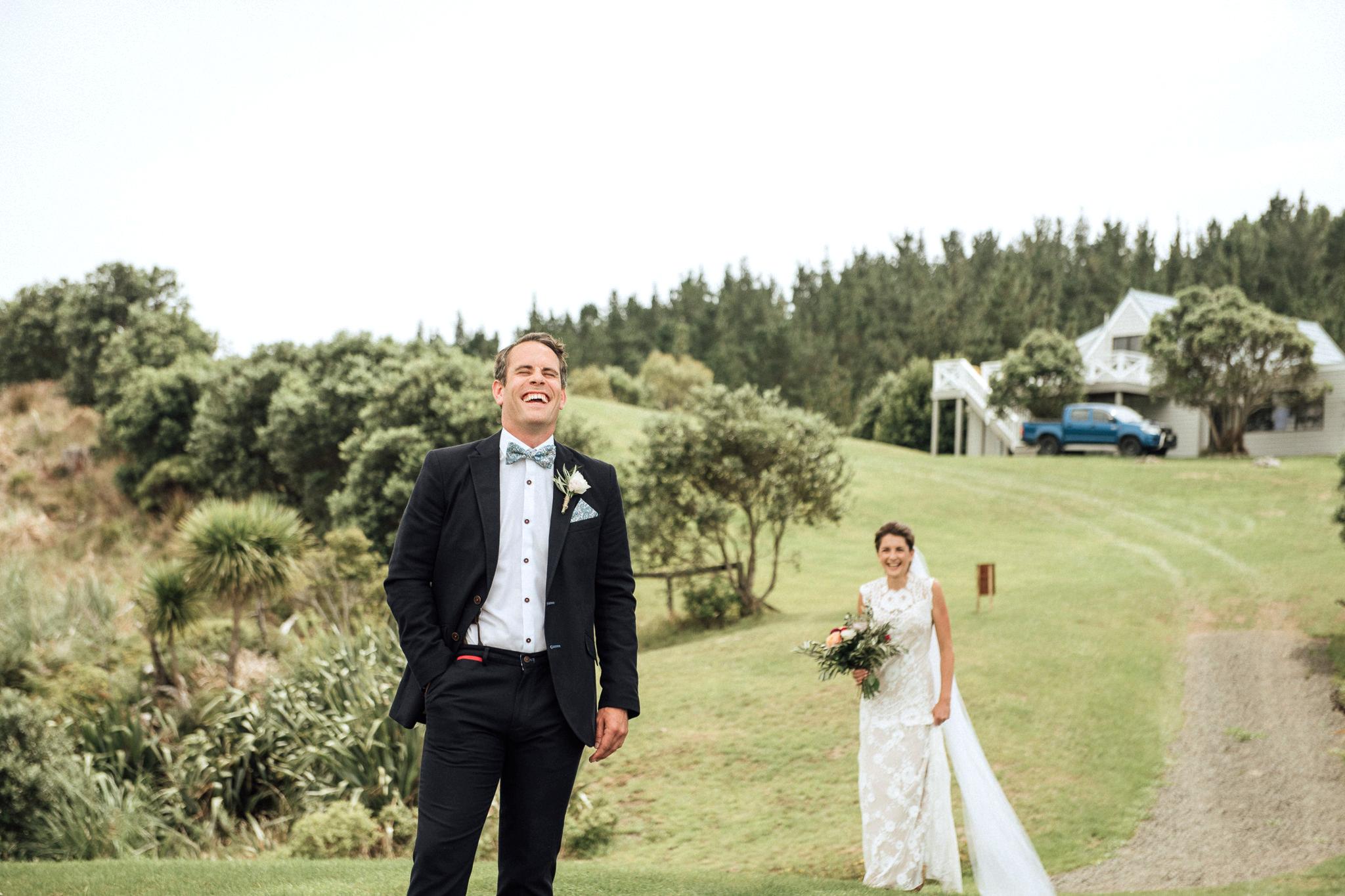 Wedding photography Orua Beach House first look