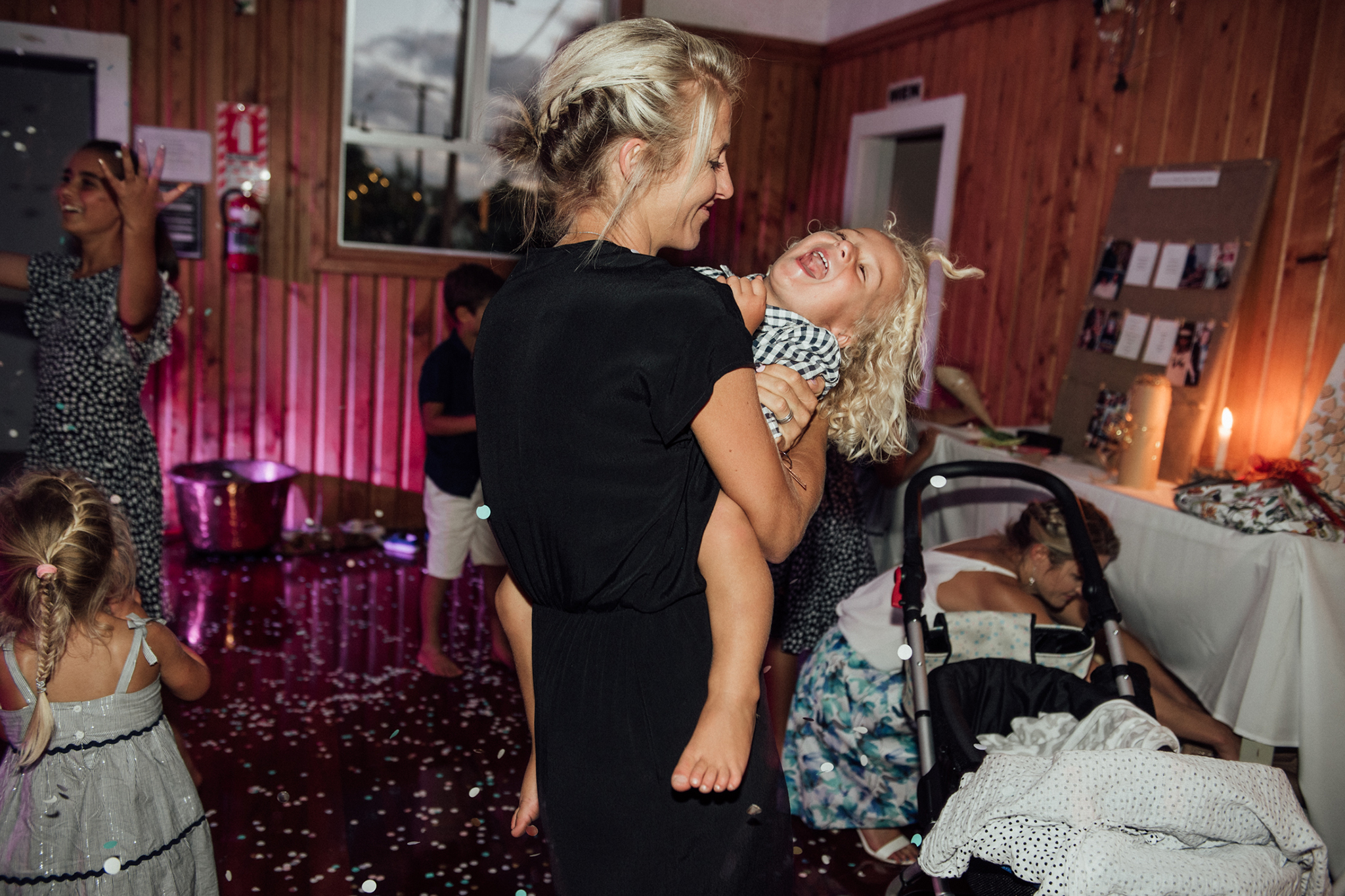 Wedding photography Waikato kids moments night dance floor