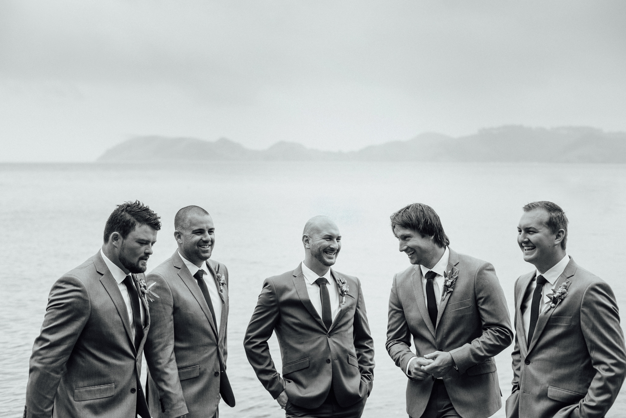 Wedding photography groomsmen coromandel beach