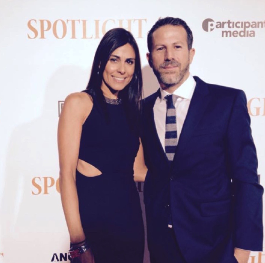 At Oscar movie Spotlight's Premiere with husband and movie's producer Bard Dorros.