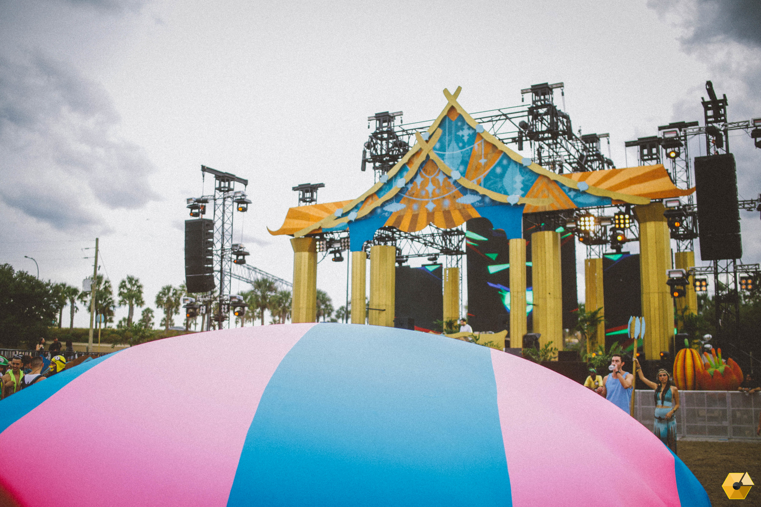 Playing with our huge parachute in front of the Neon Garden stage built by the Imagine Nation.