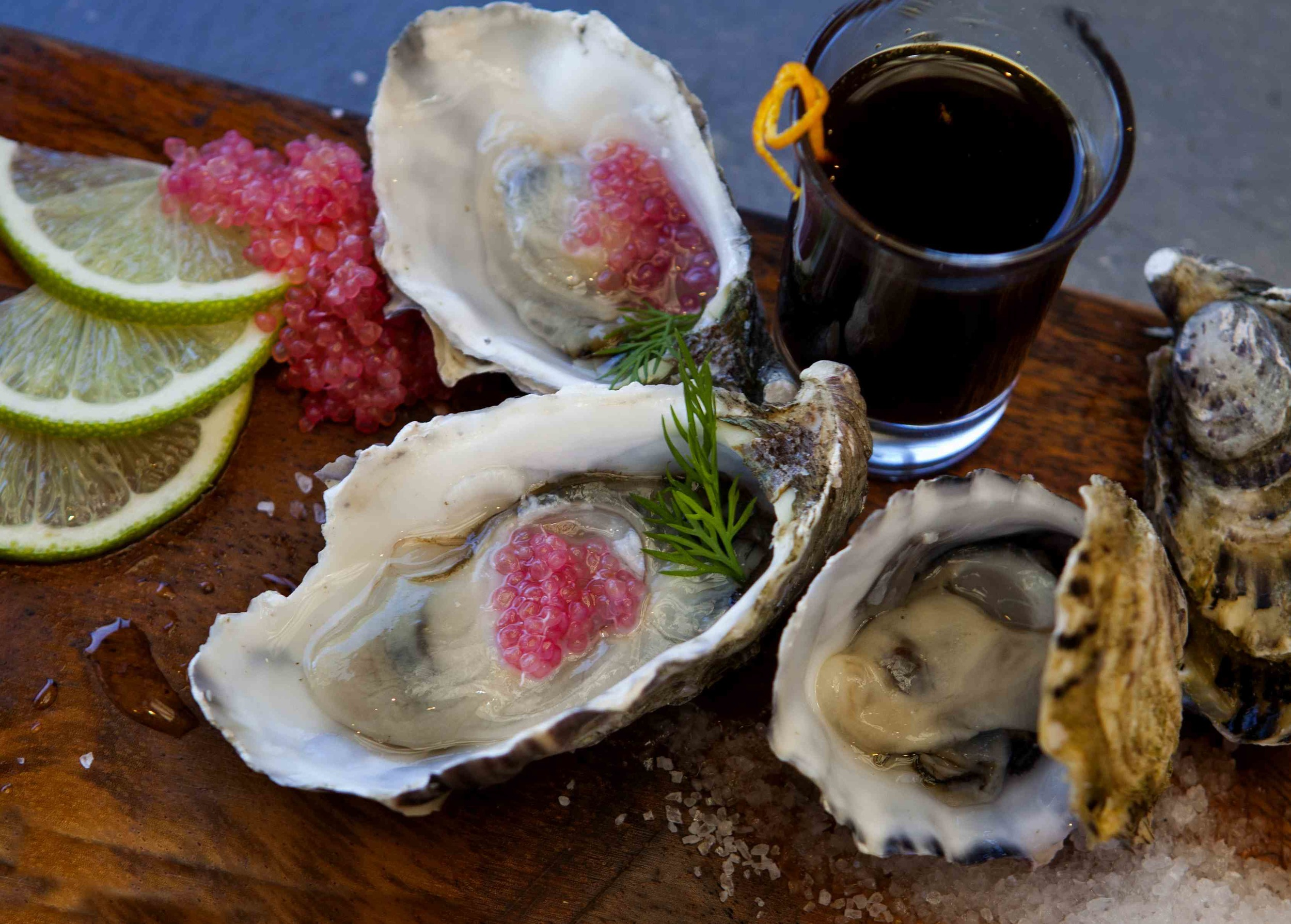 Oysters and finger limes