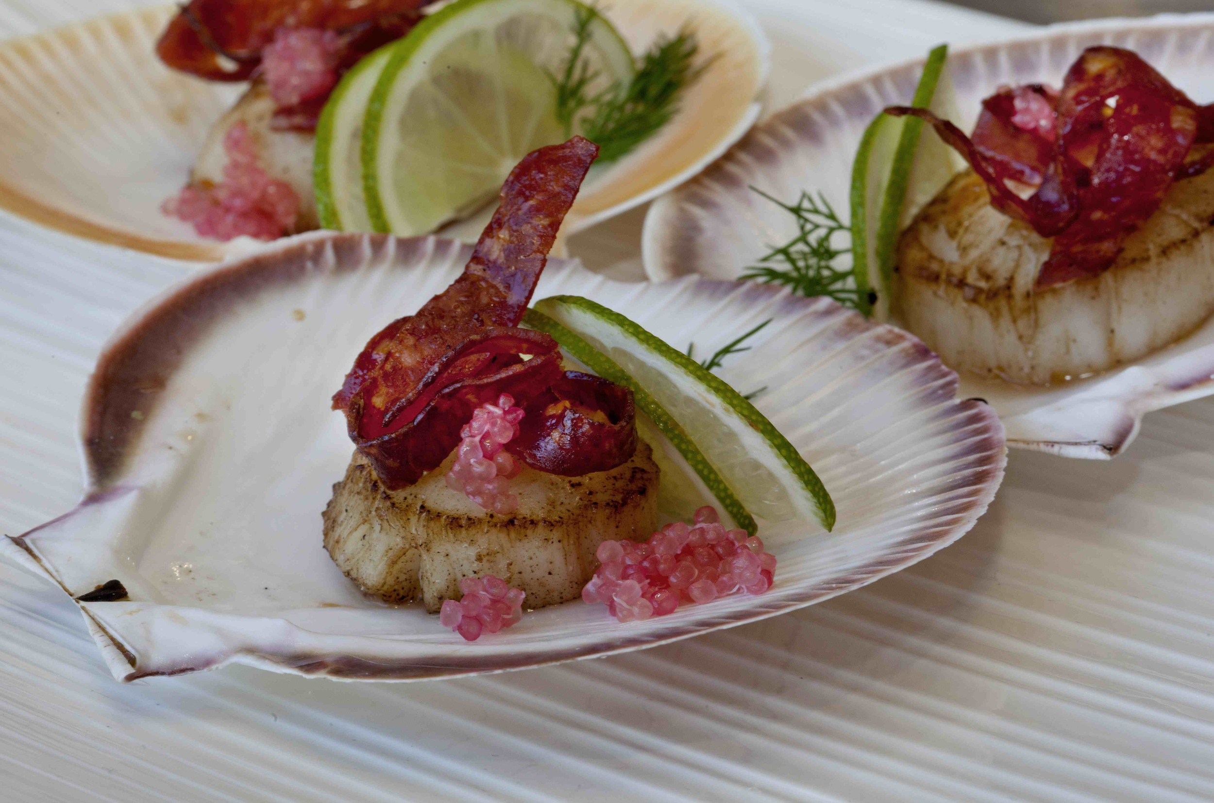 Scallops with Chorizo and finger limes