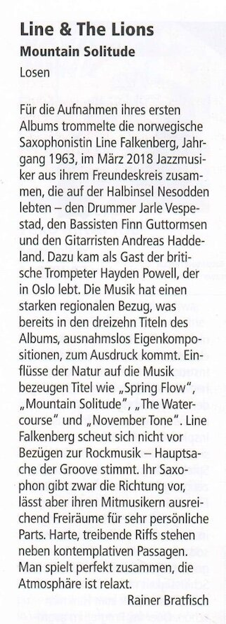 """Review """"Mountain Solitide"""" (Line & The Lions), Jazz Podium"""