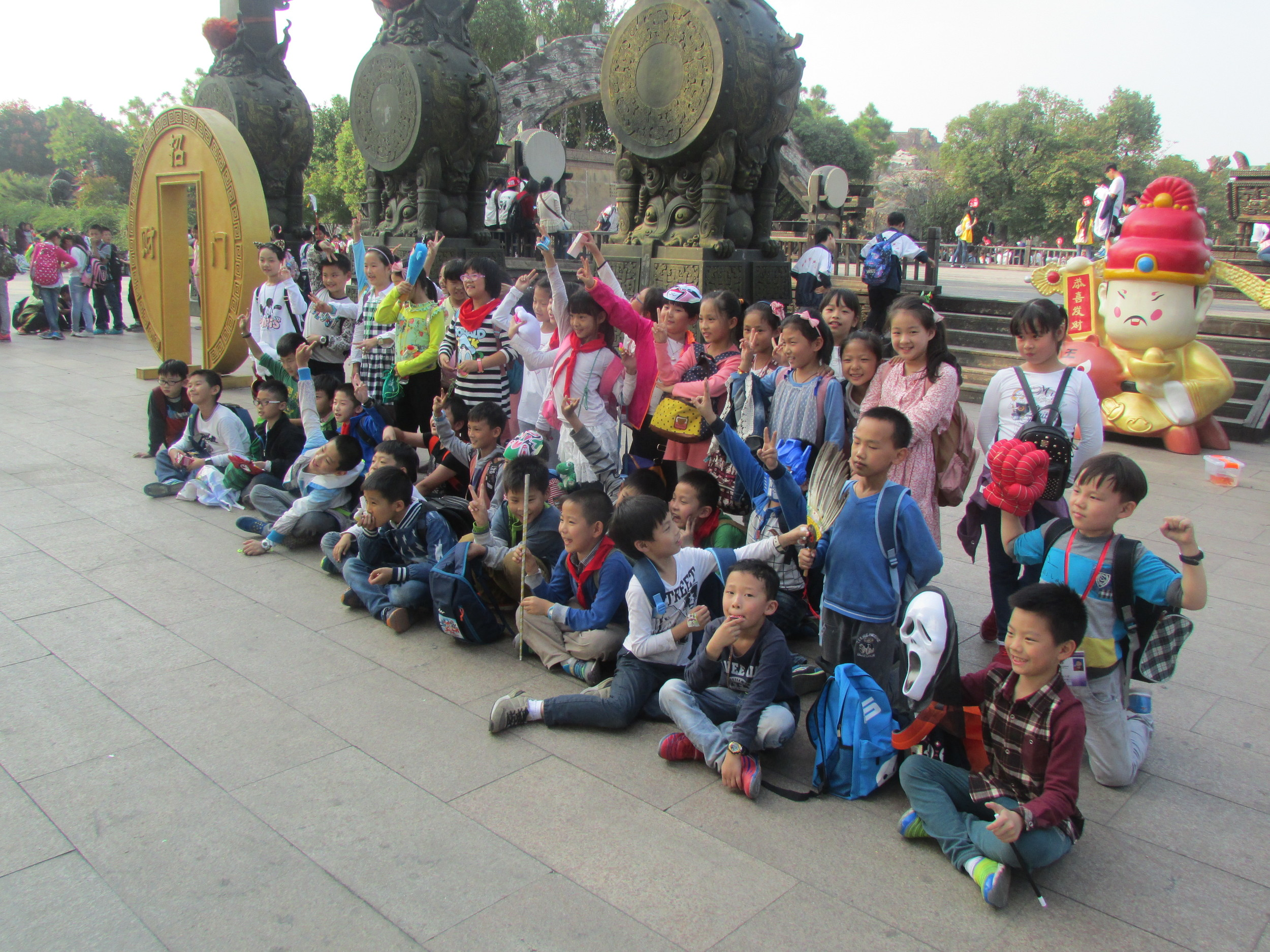 After a long day in the Yancheng theme park, my class 2 students ham it up for a group picture.