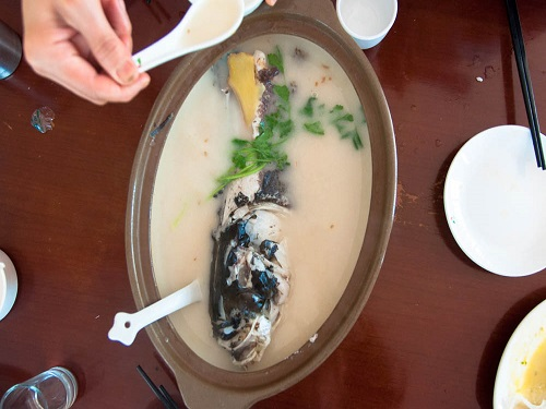"Tianmu Lake Fish Head Soup in Casserole: This dish uses the wild Bighead Fish as the main draw. The taste is described as ""refreshing but not fishy, rich but not greasy""."