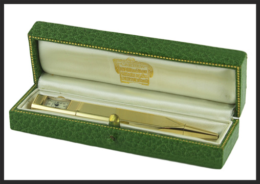 A 14ct gold Cartier Pencil with watch. Photograph Courtesy of  Watches of Knightsbridge .