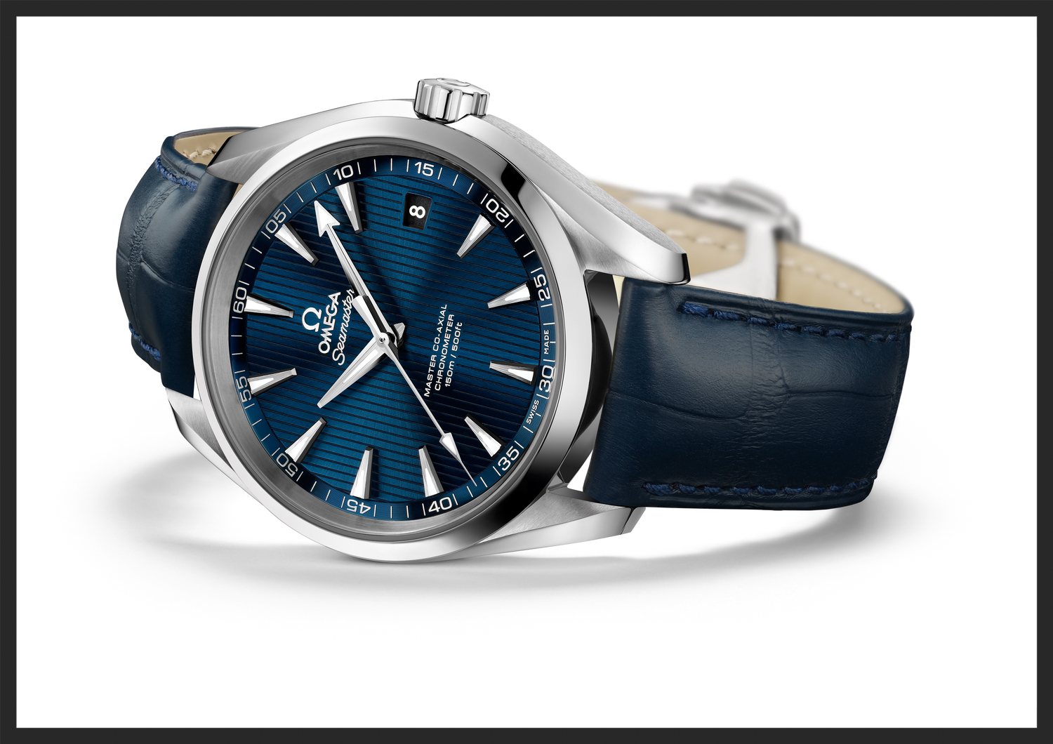 The stunning blue dial on a blue alligator strap.   www.omegawatches.com