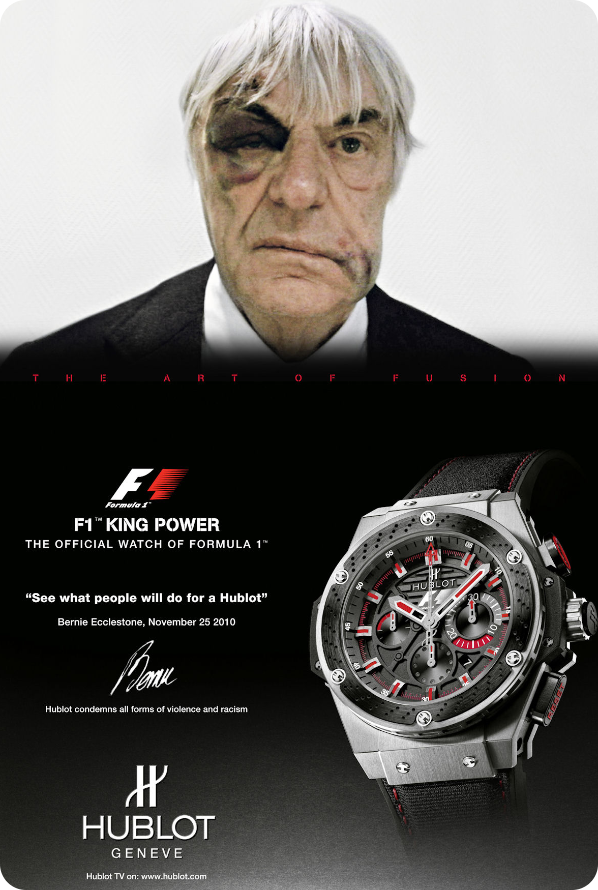 The 2010 advert featuring Bernie Ecclestone. Photo courtesy of Hublot.