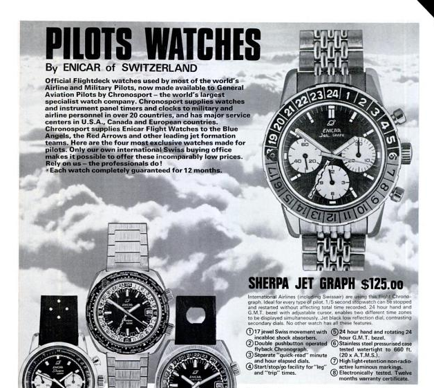 Enicar Jet graph advert Flying Magazine 1973.png