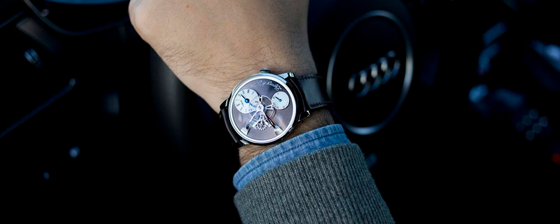 Hodinkee's Collaboration between MB&F. The MB&f LM101 in steel. Photo courtesy of hodinkee.
