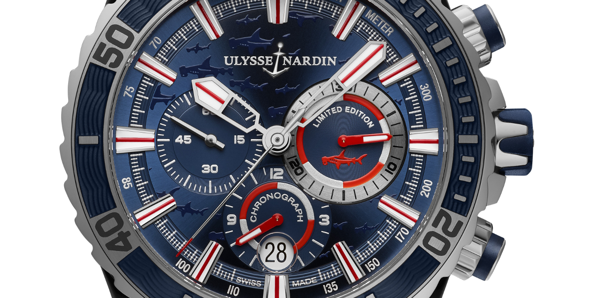The Ulysse Nardin Hammerhead Shark Chronograph in stainless steel. Photo via Ulysse Nardin.