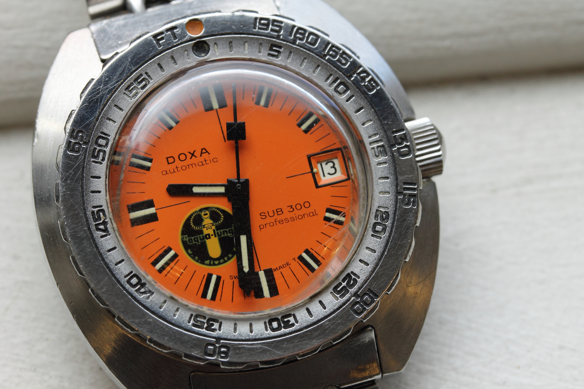 James Lamdin's personal Doxa Sub 300 'black lung',. Image Courtesy of watch patina.