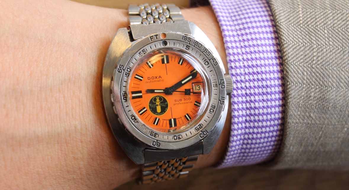 James Lamdin's Doxa sUB 300 'bLACK lUNG'. Image courtesy of Watch Patina.