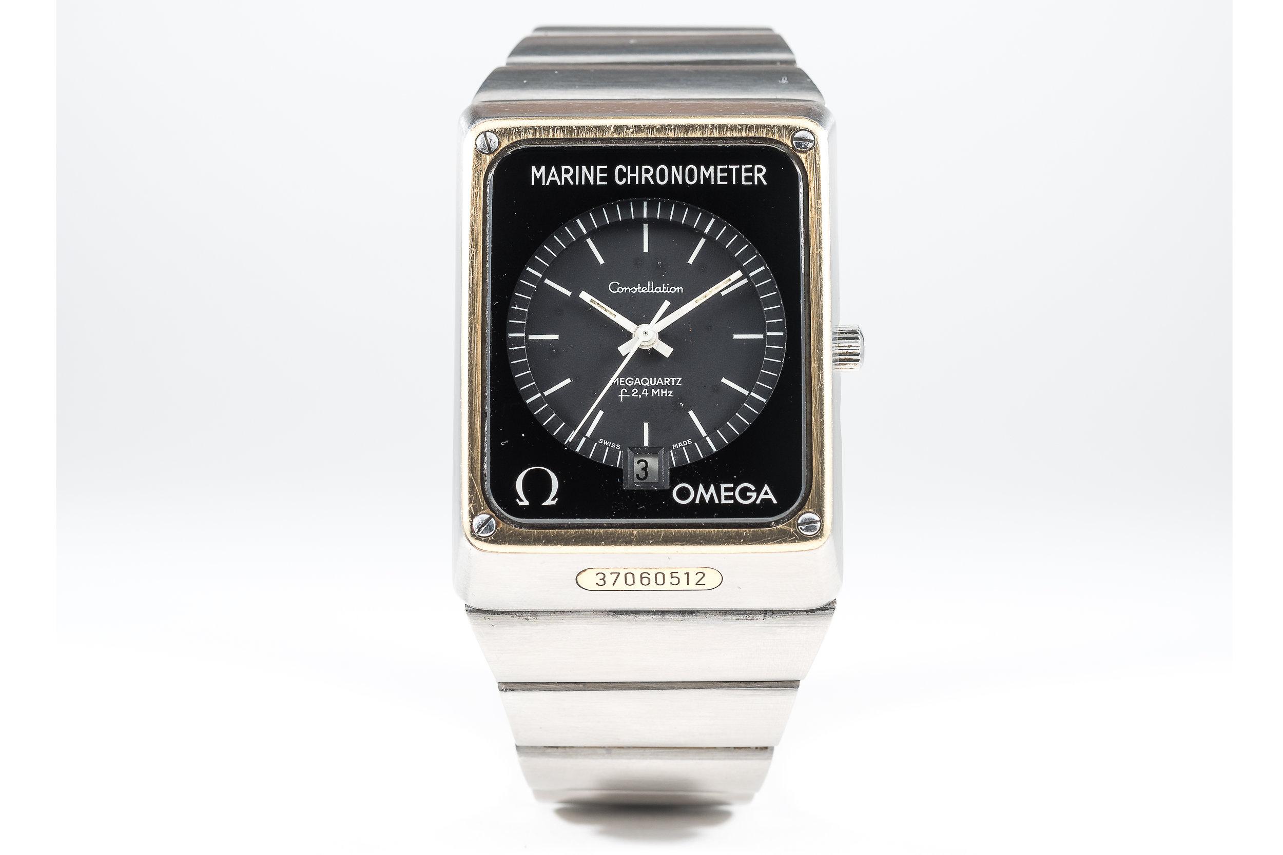 Omega marine chronometer Mega quartz 2400. photo courtesy of watches of knightsbridge.
