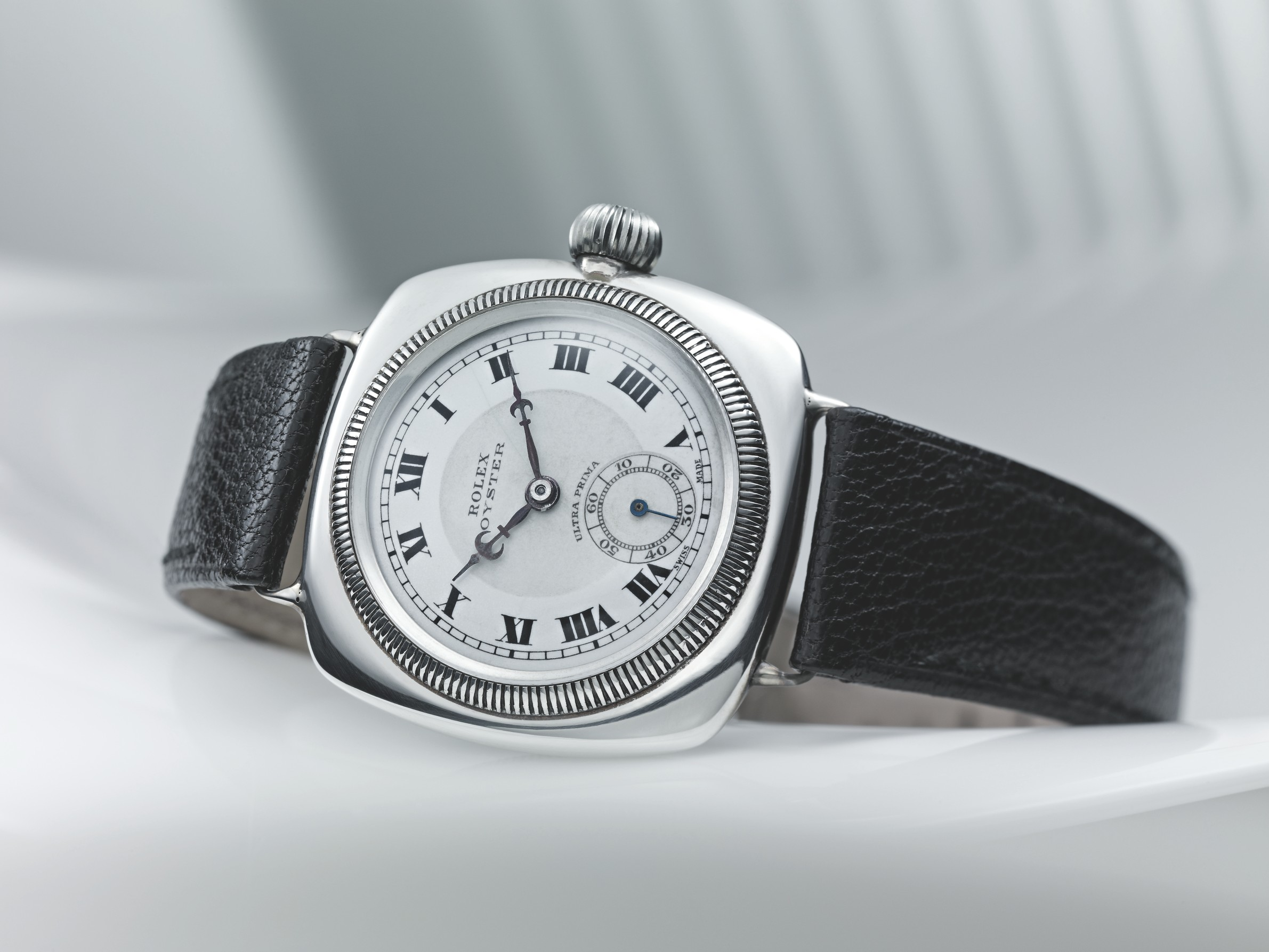 The first rolex oyster in a cushion case from 1926. photo courtesy of rolex.