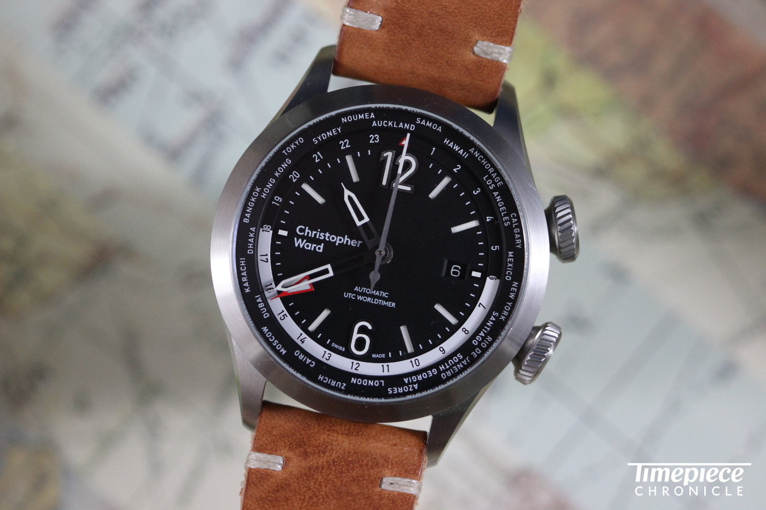The design of the C8 UTC Worldtimer is crisp and wonderfully legible.