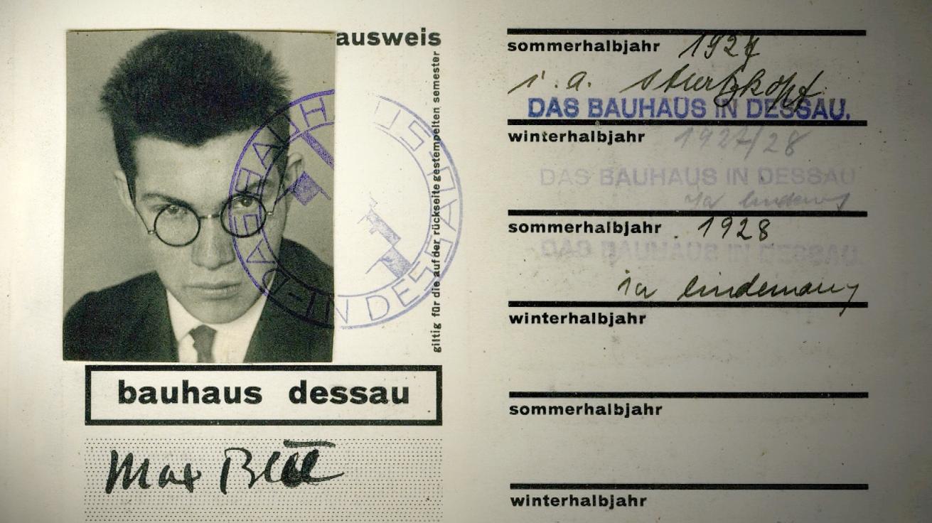 Max Bill's Student ID at the Bauhaus School