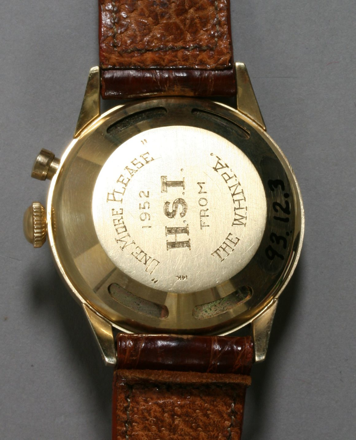 The caseback of President Truman's personal Vulcain Cricket