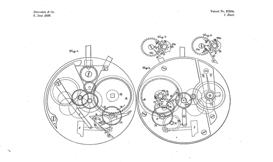The patent for a pocket watch alarm calibre filed in 1898 by the Durrstein brothers.