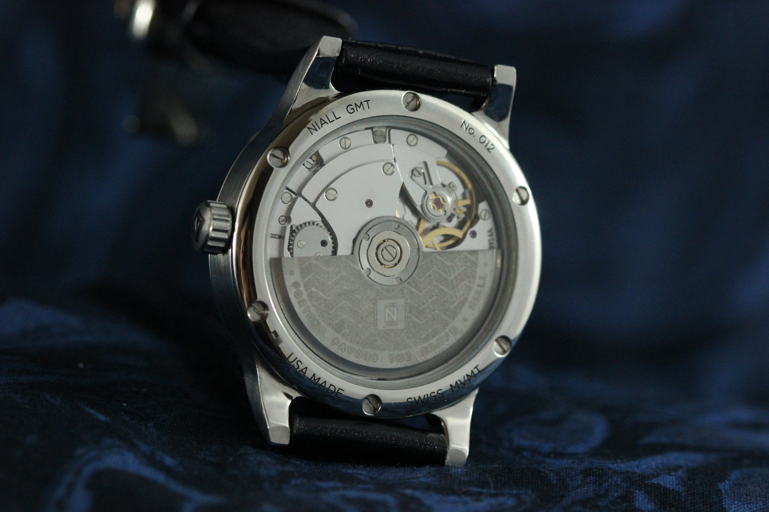 The Eterna 3914a movment used in the Niall GMT line. The rotor is laser engraved in Kansas City, MO.