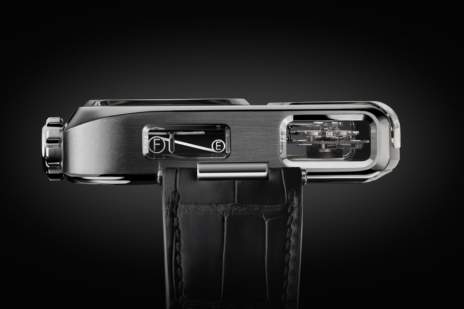 The linear power reserve of the Angelus U10 Tourbillon Lumiere. Photo courtesy of Angelus.