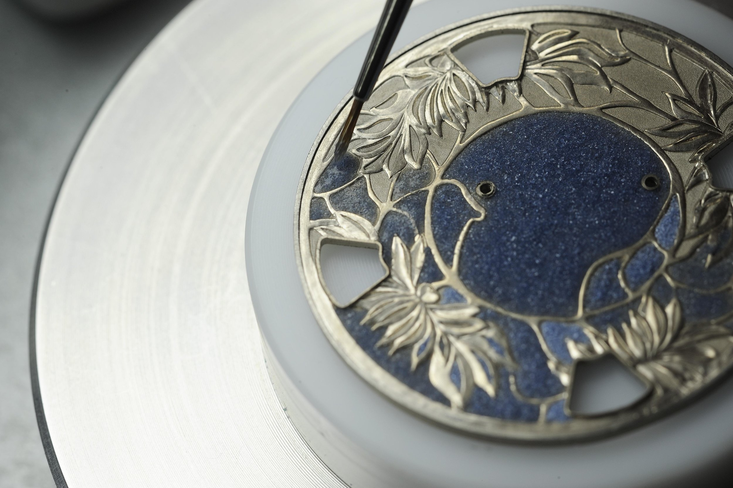 The dial of a Vacheron Constantin dial with Champleve enamel. Photo courtesy of Vacheron Constantin.