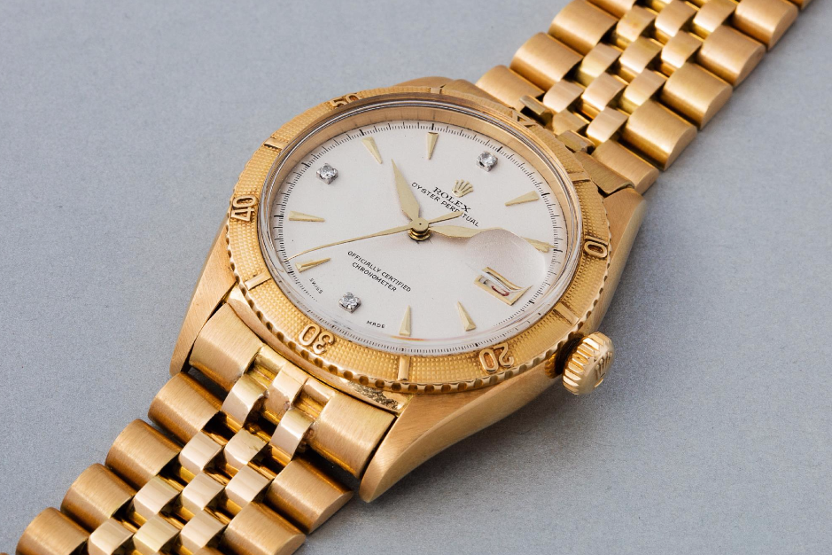 Rolex Turn-o-graph Ref. 6309 with dauphine hands and diamond hour markers. Photo courtesy of Phillip's.