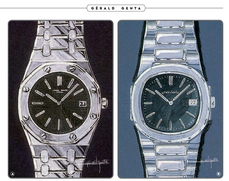 Two of Gerald Genta's most iconic designs, the Audemars Piguet Royal Oak (Left) and the Patek Philippe Nautilus (Right).
