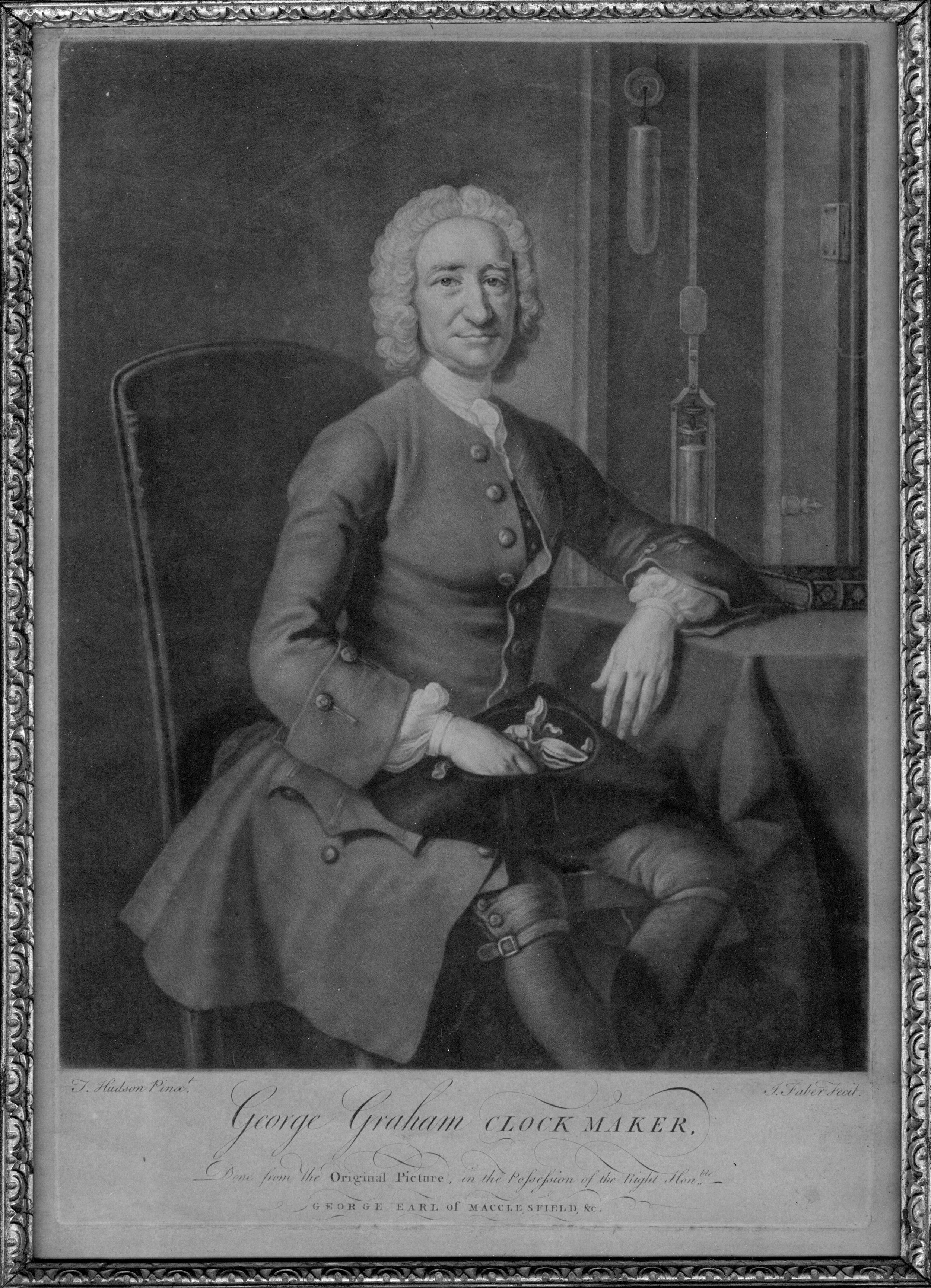 An etching of George Graham. Hudson, T., &Faber, J.(1751).Engraving of George Graham, clock maker