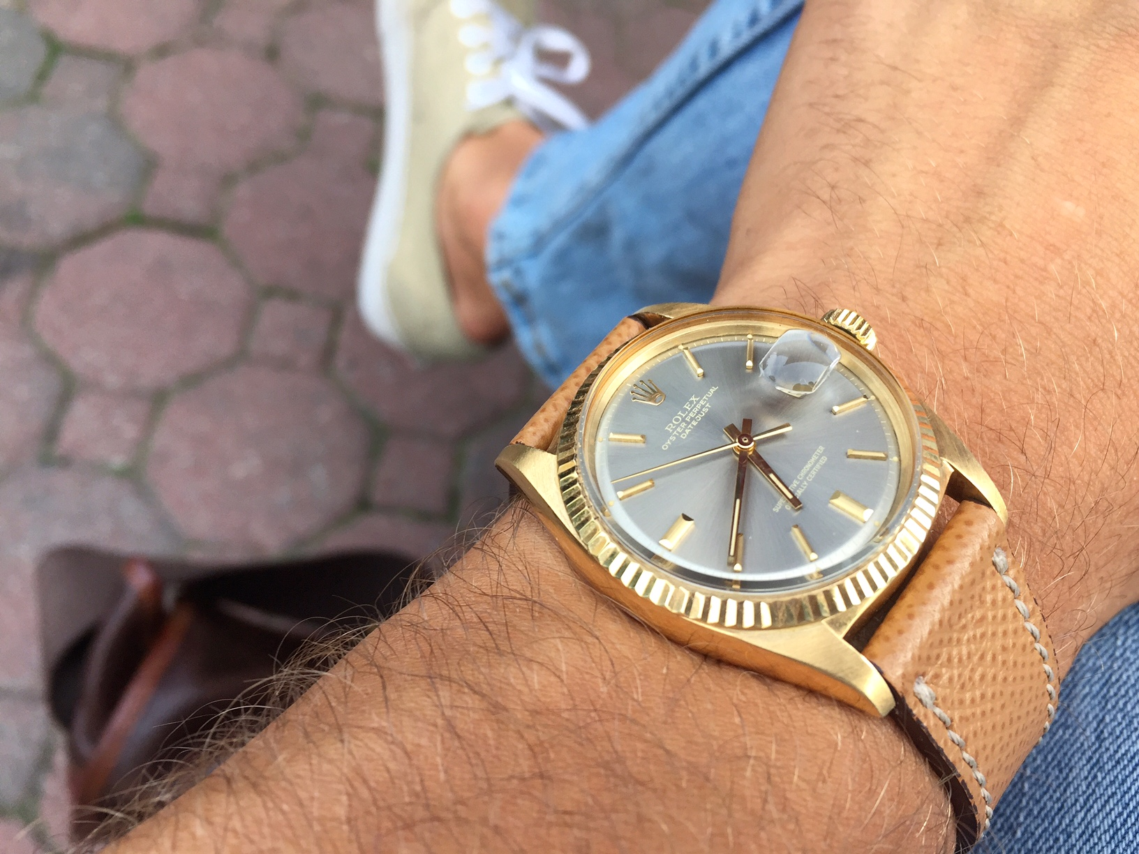 What Christian is wearing now, a Rolex Datejust Ref. 1601 with grey dial.