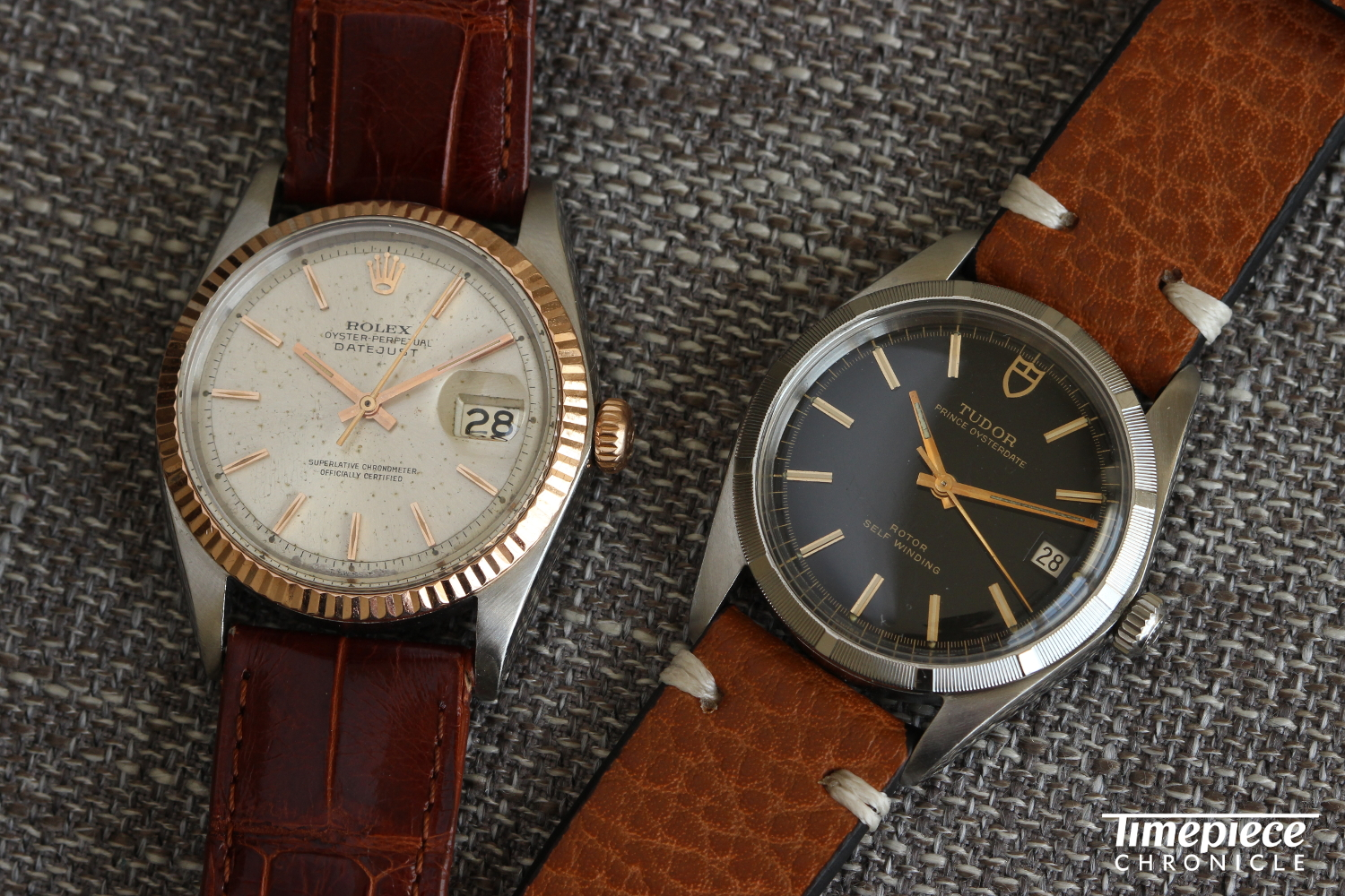 A Rolex Ref. 1601 with pink gold bezel and a Tudor Ref. 9061 with engine-turned bezel. Both available soon at Theo & Harris.