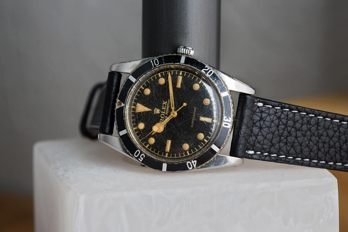 The Rolex Submariner Ref. 6204, considered to be the first Rolex Submariner ever ever produced. Photo courtesy of   Bob's Watches.