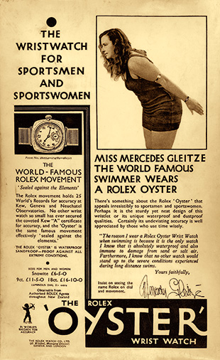 An early Rolex advert featuring Mercedes Gleitze. Photo courtesy of Rolex.