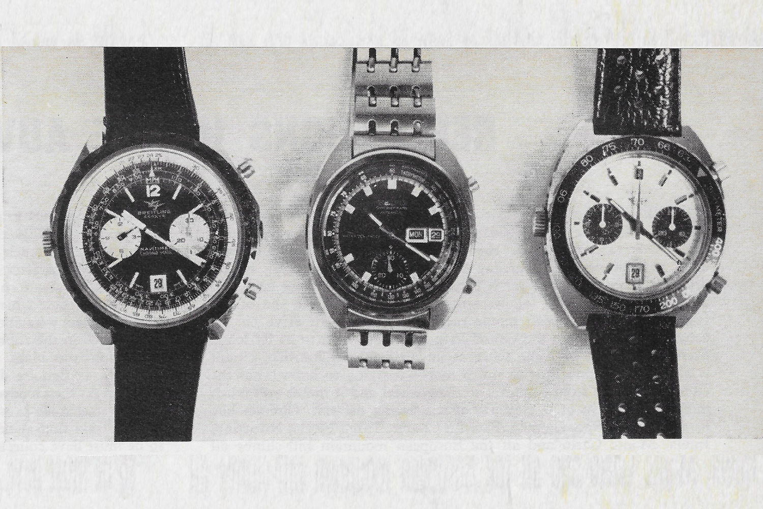 The Three Automatic Chronographs—l.r. The Breitling Navitimer, the Seiko and the Heuer.