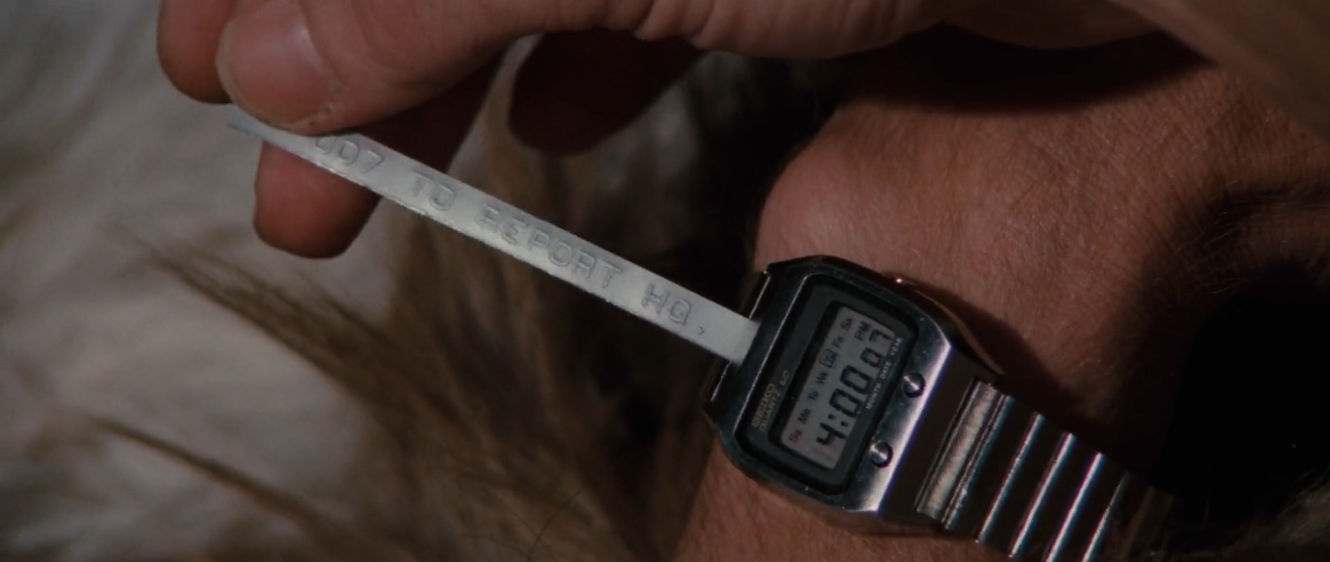 """The Seiko Ref. 0764 LC """"Ticker Tape"""" as seen in the beginning of  The Spy Who Loved Me ."""