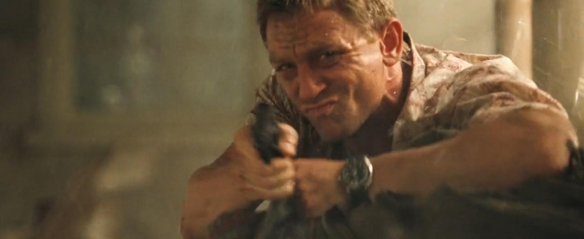 Mr. Craig as James Bond during an intense firefight.
