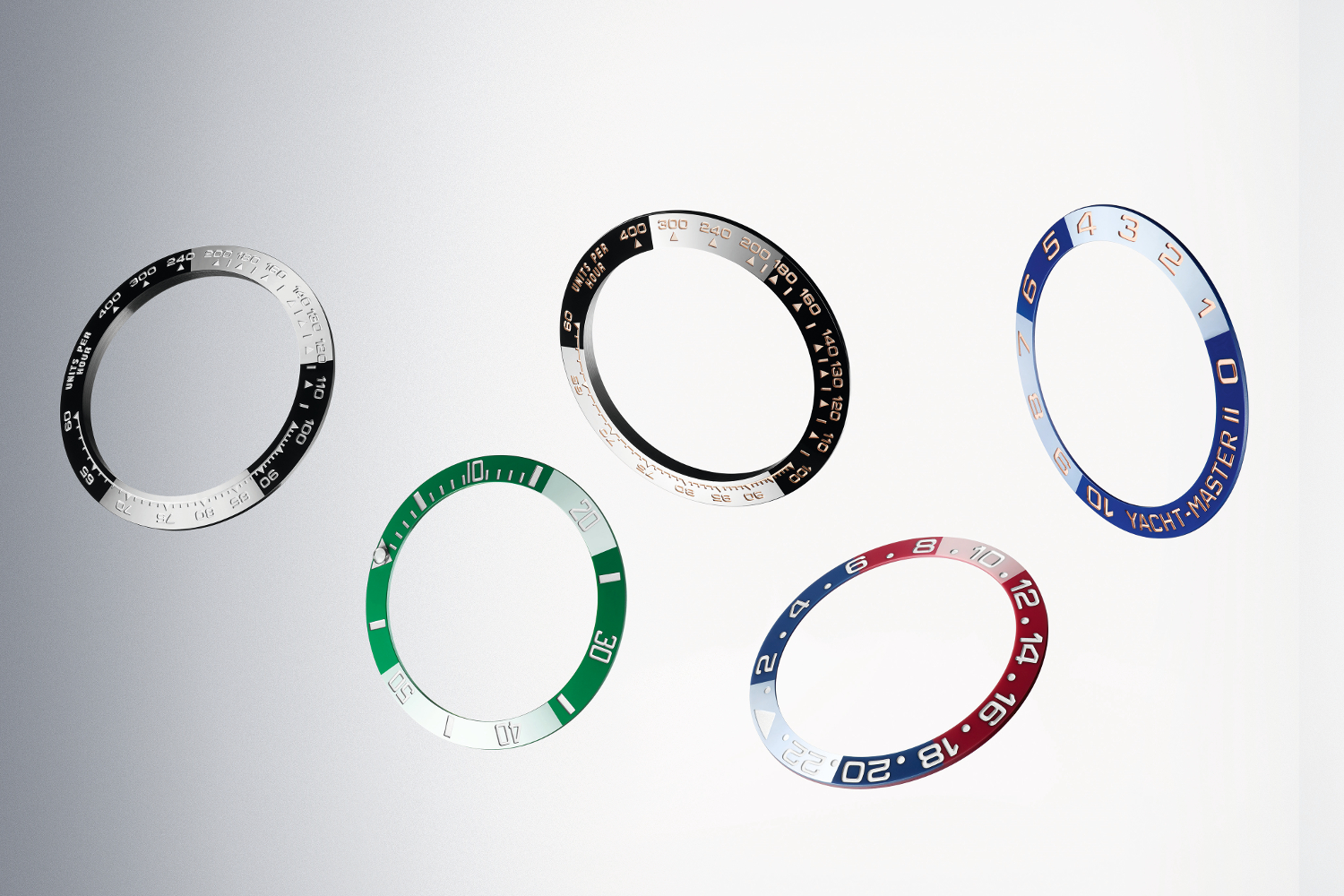 The variety of colored ceramic bezels from Rolex. Photo courtesy of Rolex.
